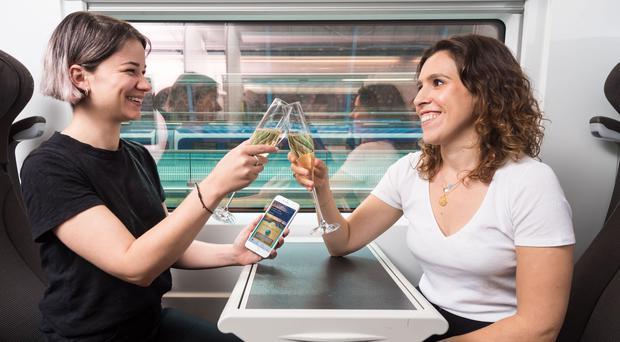 Eurostar is launching a 'press for champagne' button to mark 100 days until its 25th anniversary (Eurostar/PA)
