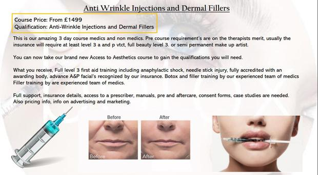 An anti-wrinkle injections and dermal fillers ad from Boss Babes Uni (Advertising Standards Authority/PA)