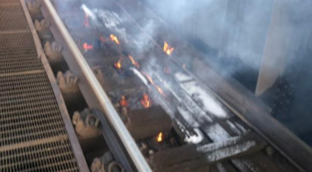 The fire on the tracks between Victoria and Clapham Junction which has stopped Southern and Gatwick Express services running run to or from London Victoria (Southern Rail/PA)