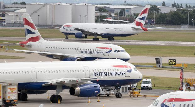 British Airways aircraft at London's Heathrow airport (Steve Parsons/PA)