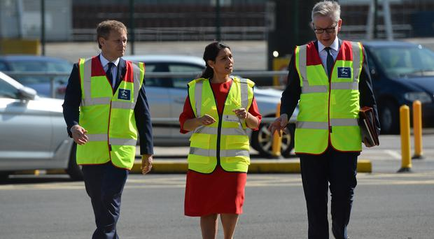 Ministers Michael Gove, Priti Patel and Grant Shapps during a visit to the Port of Dover (Kirsty O'Connor/PA)