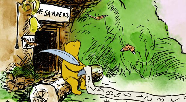 Pooh has been pictured counting painted lady butterflies outside his house in Hundred Acre Wood (Disney/PA)