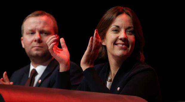 Former Scottish Labour leader Kezia Dugdale with Brian Roy (left) (Andrew Milligan/PA)