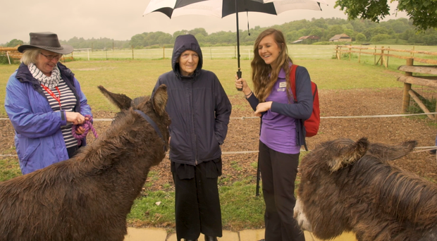 Brenda Pearce meets the donkeys at East Clayton Farm (Care UK/PA)