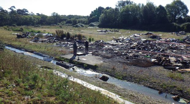 Illegal fly-tipping site at Hulbert Road, Havant, Hampshire (Environment Agency/PA)
