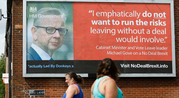 A no-deal Brexit warning from Michael Gove on a Led By Donkeys poster (Led By Donkeys)