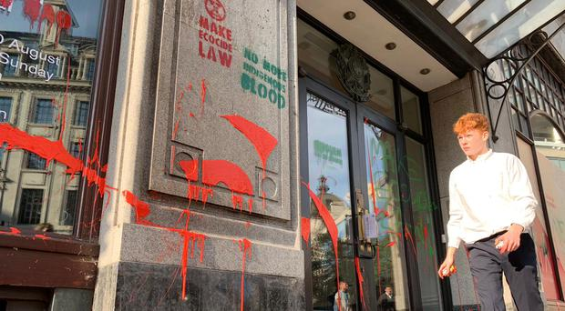 Activists at the Brazilian embassy in London (Extinction Rebellion/PA)