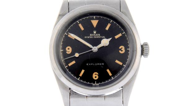 The stainless steel Oyster Perpetual Explorer bracelet watch had an estimate of £4,800 – £5,800 (Fellows/PA)