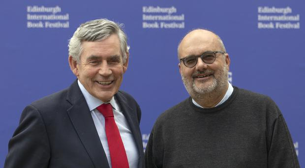 Former prime minister Gordon Brown (left) with economist Branko Milanovic ahead of their discussion event at the Edinburgh International Book Festival (Jane Barlow/PA).