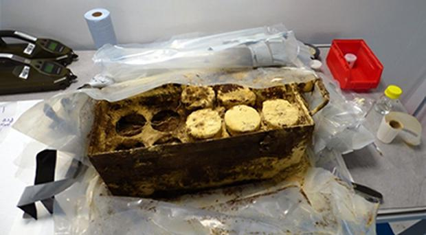 First World War mustard gas bombs recovered by divers from Stixwould Lake, near Woodhall Spa, Lincolnshire (Royal Navy/PA)
