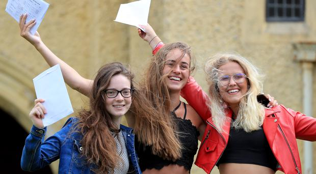 Students celebrate their A-level results from Roedean School in Brighton (PA)