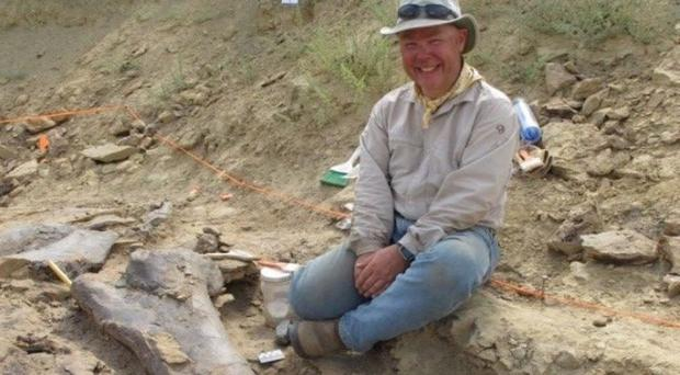 Professor Phil Manning, one of the lead scientists on the Mission Jurassic project which has uncovered dozens of dinosaur remains from a site in Wyoming (PA)