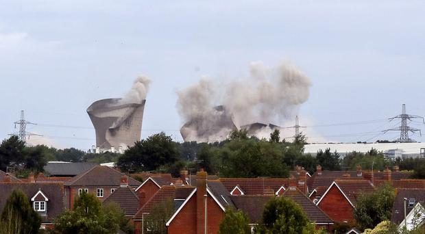 The cooling towers are demolished (Steve Parsons/PA)