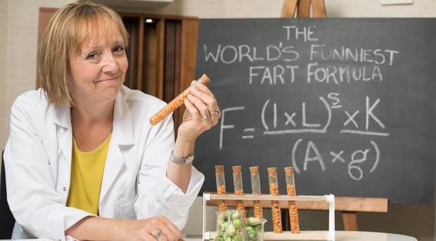 Scientist Dr Helen Pilcher reveals the mathematical formula for the world's funniest fart (David Parry/PA)