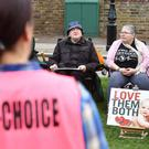 Pro-choice demonstrators faced anti-abortion demonstrators outside the Marie Stopes clinic (PA)