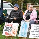 Pro-life demonstrators outside the Marie Stopes clinic on Mattock Lane, Ealing (PA)