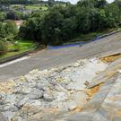 Work is continuing to shore up the damaged dam wall at the Toddbrook Reservoir near Whaley Bridge in Derbyshire after it was damaged by heavy rain (Jacob King/PA)