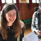 Emily Fox, who got all grade 9s, cries tears of joy (Jacob King/PA)