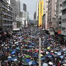 Protesters rally in Yuen Long in Hong Kong (Bobby Yip/AP/PA)