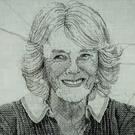 Work in progress on an embroidery of the Duchess of Cornwall (Royal School of Needlework/PA)