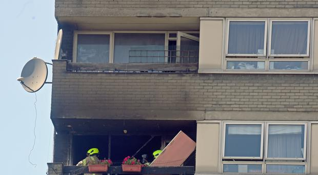 Firefighters at Markland House (Victoria Jones/PA)
