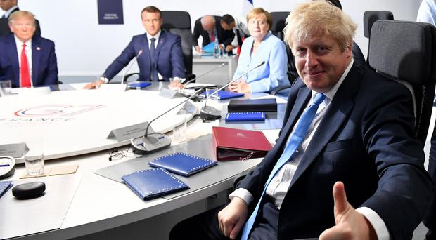 Prime Minister Boris Johnson during an extended working session on Foreign Policy and Security Affairs: Syria, as part of the G7 summit in Biarritz, France (PA)
