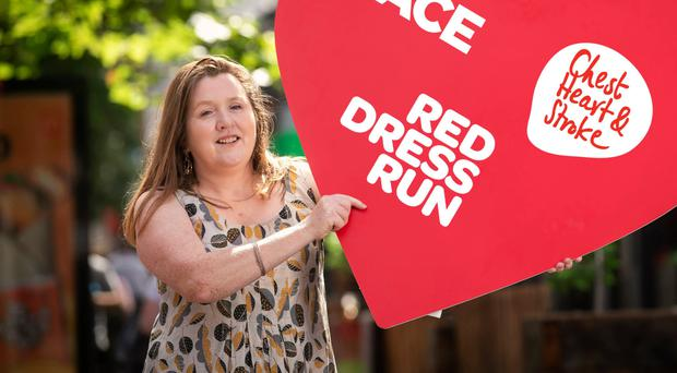 Roisin O'Neill is urging people to take part in the NI Chest Heart and Stroke's Red Dress Run at the Stormont Estate on September 29