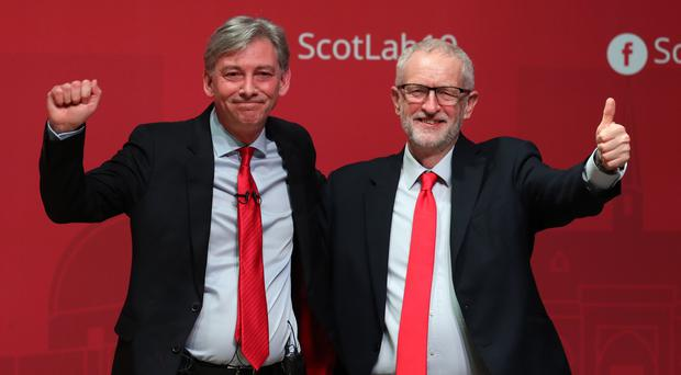 Jeremy Corbyn (left) and Richard Leonard have agreed there will be no second Scottish independence referendum in the formative years of a Labour goverment. (Andrew Milligan/PA)
