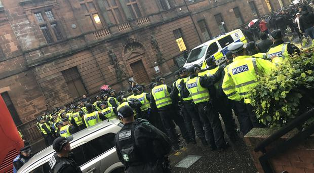 Police dealing with disorder in Govan, Glasgow (@JustShelbyMay/PA)