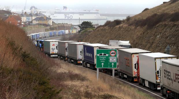 Lorries queue at the entrance to the Port of Dover (PA)
