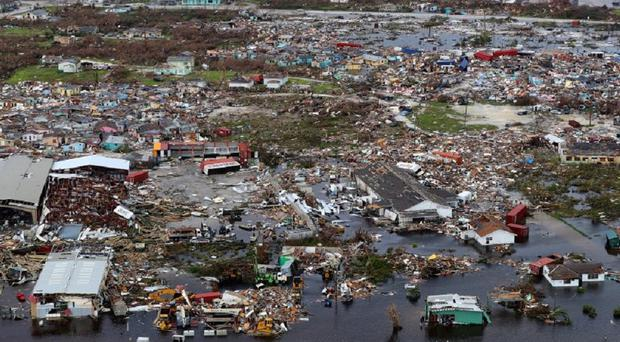 An aerial view of the devastation in the Bahamas in the wake of Hurricane Dorian (Ministry of Defence/PA)