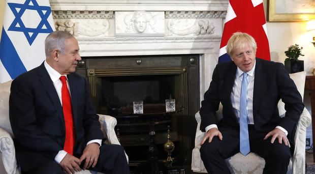 Prime Minister Boris Johnson with Israel's prime minister Benjamin Netanyahu before holding talks in 10 Downing Street (Alastair Grant/PA Wire)