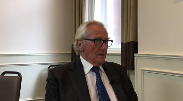 Lord Heseltine speaks to media during an anti-Brexit rally in Leeds (Pat Hurst/PA)