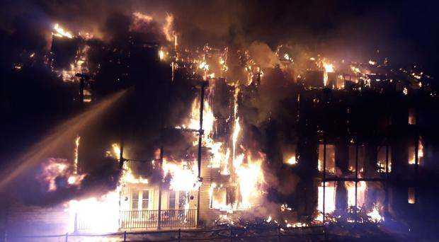 Some 125 firefighters were battling a major blaze in south-west London in the early hours of Monday morning (London Fire Brigade/PA)