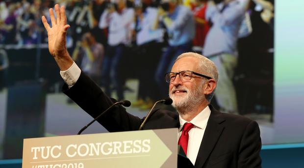 Labour leader Jeremy Corbyn gives a speech at the TUC Congress in Brighton (Gareth Fuller/PA)