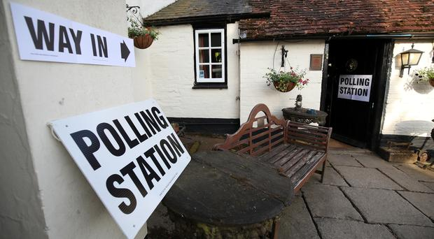 A polling station at the White Horse Inn in Priors Dean, Hampshire (Andrew Matthews/PA)