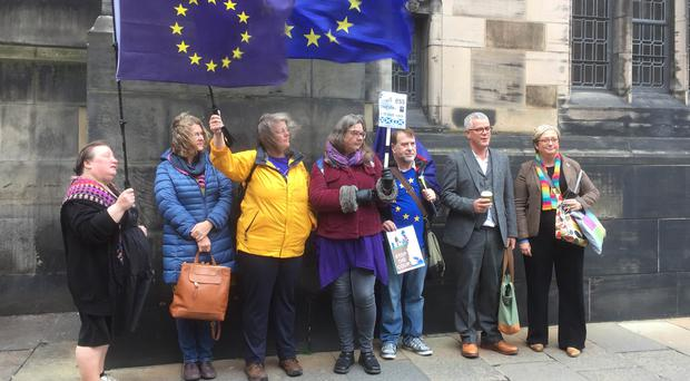 Joanna Cherry (right), alongside Jo Maugham QC, with campaigners outside the Court of Session in Edinburgh (Lucinda Cameron/PA)