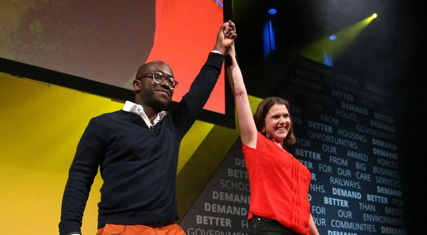 Sam Gyimah, who has defected to the Liberal Democrats, with leader Jo Swinson (Jonathan Brady/PA)