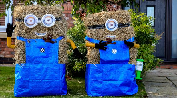 Minions scarecrows during the annual Charnock Richard Scarecrow Festival, in Chorley (Peter Byrne/PA)