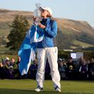 Team Europe captain Catriona Matthew with the trophy after winning the 2019 Solheim Cup at Gleneagles (Jane Barlow/PA)