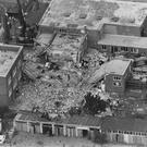 An aerial view of the wrecked Royal Marines School of Music building at the Deal Barracks in Kent in 1989