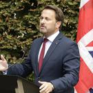 Luxembourg's PM Xavier Bettel addresses a media conference after a meeting with Boris Johnson in Luxembourg (Olivier Matthys/AP/PA)