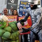 Protesters dressed as the Incredible Hulk and Robocop outside the Supreme Court in London where judges are due to consider legal challenges to Prime Minister Boris Johnson's decision to suspend Parliament (PA)