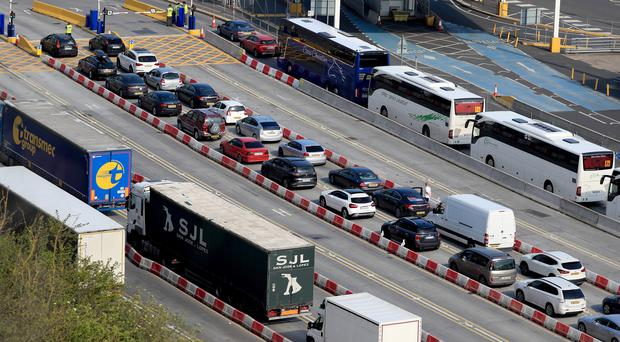 Cars and coaches at the Port of Dover in Kent, Good Friday will be the busiest Easter holiday travel day as many people make the most of the long weekend.