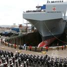 Aircraft carrier HMS Prince of Wales at the Royal Dockyard in Rosyth (Andrew Milligan/PA)