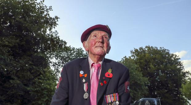 100-year-old veteran Raymond Whitwell, from Malton, North Yorkshire, outside the Airborne Museum in Arnhem, Netherlands (Steve Parsons/PA)