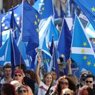 Protestors during the March to Remain in the EU for Peace and Climate Action in Edinburgh (Andrew Milligan/PA)
