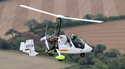 James Ketchell comes into land at Popham Airfield (Andrew Matthews/PA)