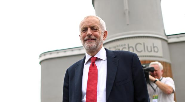 Jeremy Corbyn on Brighton seafront during the Labour Party Conference (PA)