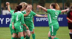 The UK Parliamentary Women's Football Club celebrates their first goal during their match against Lewes FC Women's Vets (Gareth Fuller/PA)